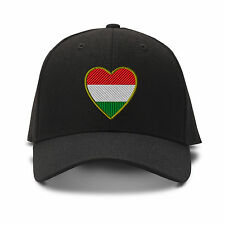 Heart Hungary Flag Embroidery Embroidered Adjustable Hat Baseball Cap
