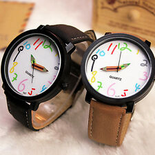 Fashion Lovers Watch Mens Womens Large Dial Leather Quartz Analog Wrist Watches