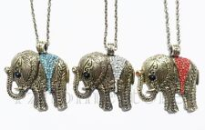 Elephant Pendant Lucky Necklace Blue Clear Red Rhinestone Vintage Antique Bronze