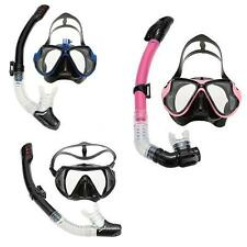 Adult Snorkel Tempered Glass Diving Mask Goggles + Full Dry Snorkel Tube Q7X0