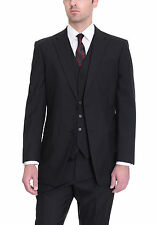 Tommy Hilfiger Trim Fit Solid Black Two Button Three Piece Wool Suit