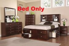 Queen Cal King Est King 1 Pc Bed Bedroom Headboard Espresso Finish Drawers Shelf