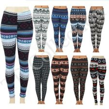 Women Brushed Fleece Fur Warm Aztec Tribal Print LEGGINGS Stretch Thick Winter