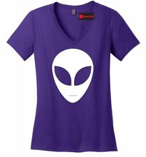 Alien Face Ladies V-Neck T Shirt Believe UFO Nerd Gift Tee Hipster Swag Geek Z5