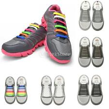New Silicone Elastic Shoelaces No Tie Laces Shoe Sneakers Trainer Kids Hot