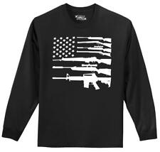 Gun American Flag L/S T Shirt Patriotic USA Flag American Pride Gun Right Tee Z1