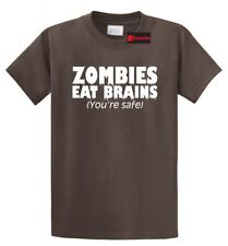 Zombies Eat Brains You're Safe Funny T Shirt Rude Halloween Party Tee S-5XL