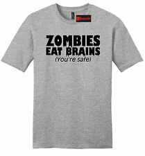 Zombies Eat Brains Youre Safe Funny Mens Soft T Shirt Rude Halloween Party Z2