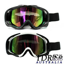 Snowmobile Snowboard SKI Snow Tinted GOGGLES Windproof UV Eyewear Black / White