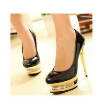 Winter Women Black Stiletto Diamante Gold High Heels Pumps Wedding Evening Shoe