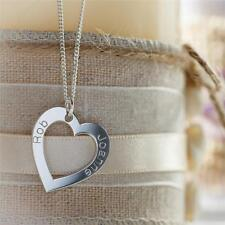 375 Solid 9ct White Gold Personalised Heart Pendant with Chain & Crystal Option