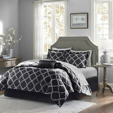 Black Reversible Comforter & Sheet Set Decorative Pillow, Shams and Bed Skirt