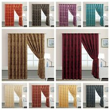 Jacquard Sandra Pencil Pleat Curtains,Fully Lined Tape Top Curtains +Tie Backs