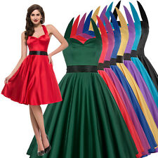 Solid Color VINTAGE Classy Housewife 40's 50's Halter Pinup Cocktail Prom Dress