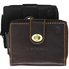 Leather Purse / Wallet with Zipped Coin Section : Oiled Leather: Black or Brown