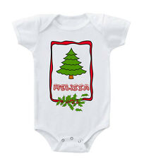 Christmas Tree With Red Name Custom Infant Toddler Baby Bodysuit One Piece