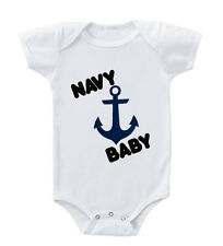 Navy Baby Blue Anchor Infant Toddler Baby Cotton Bodysuit One Piece