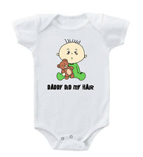 Funny Teddy Bear Daddy Did My Hair Infant Toddler Baby Cotton Bodysuit One Piec