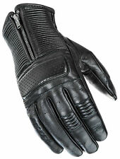 Joe Rocket Black Mens Café' Racer Leather Motorcycle Gloves