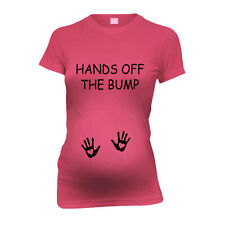 Hands Off The Bump New Mom Funny Maternity T-Shirt Tee Shirt Top Baby Shower Gi
