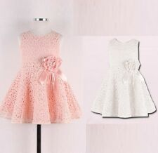 Flower Girl Party Dress Pretty Lace/Flower Detail pink white red Size 1,2,3,4,5