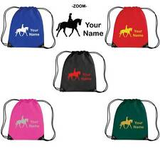 PERSONALISED PRINTED DRAWSTRING GYM/SHOE BAG WITH HORSE DESIGN - school pony HO6