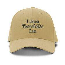 I Drum Therefore I Am Embroidery Embroidered Adjustable Hat Baseball Cap