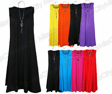 Womens Ladies Plus Size Sleeveless Frill Gypsy Tunic V-Neck Tops + FREE NECKLACE