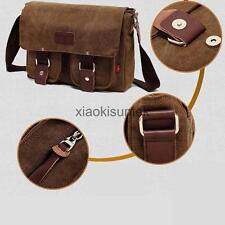 Vintage Men's Canvas Leather Messenger Single Shoulder Military Travel Satchel