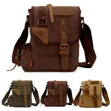 Men's Retro Canvas Leather Military Messenger Shoulder Bag School Casual Bag