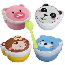 Microwaveable 2 Layer Kid Cartoon Plastic Lunch Meal Bento Box Case Set Spoon
