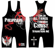 PHILIPPIANS 4:13 RED SUBLIMATED WRESTLING SINGLET YOUTH OR ADULT - ALL SIZES