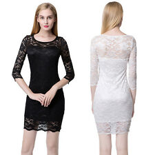 Sexy Lace Pencil Dress Women Slash Neck 3/4 Sleeve Bandeau Cocktail Party Casual