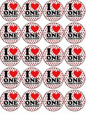 I LOVE ONE DIRECTION 1D EDIBLE WAFER PAPER TOPPERS CUPCAKE CAKE FAIRY
