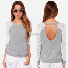 Hot Womens Backless Long Sleeve Embroidery Lace Crochet Shirt Top Casual Blouse