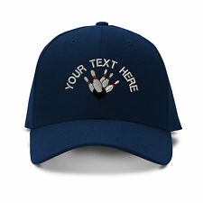 Your Text Here Custom Bowling Embroidered Adjustable Hat Baseball Cap