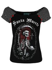 Too Fast Santa Muerte Bolivar Women's Black T-shirt