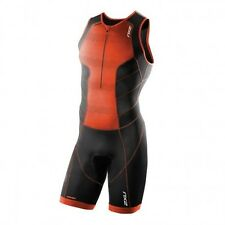 2xu Perform Trisuit Front Zipper Black/Red One Piece Suit Triathlon Man 04US