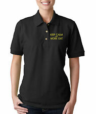 Keep Calm And Work Out Embroidery Embroidered Woman Golf Polo Shirt