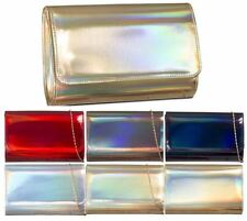 NEW LADIES FAUX PATENT SHINNY LEATHER HOLOGRAPHIC CLUTCH BAG EVENING PARTY PURSE