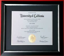 """CUSTOM MADE MATTED Black Navy Blue Silver Diploma Certificate Frame 2.25"""" WIDE"""