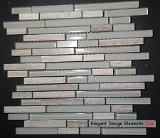 Light Wooden Gray Stone Mosaic Light Gray Glass Tile Kitchen Backsplash (Z32)