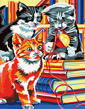 Hand Painted Design Needlepoint Canvas - Three Cats