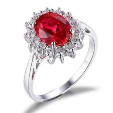 JewelryPalace Princess 3ct Created Red Ruby Engagement 925 Sterling Silver Ring