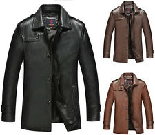NWT Mens Leather Coat Slim Blazer Business Jacket Classic Outerwear Hipster