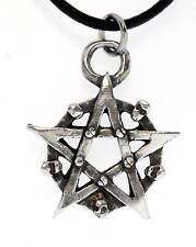 PENTAGRAM SKULLS Silver Pewter Pendant Leather Necklace