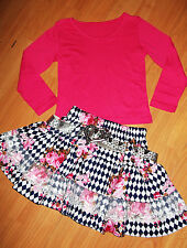 GIRLS TOP & PINK FLORAL HALEQUIN PRINT LACE TRIM RUFFLE PARTY SKIRT with BELT