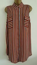 NEW Debenhams Plus Size 18-28 Striped Brown White Chiffon Tunic Top Shirt Blouse