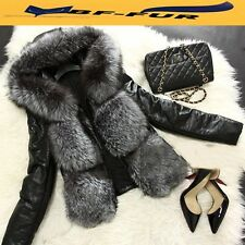 100% Real Sheepskin Leather Coat Natural Fox Fur Jacket Women Outwear Hood