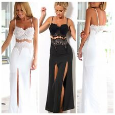 Sexy Women Spaghetti Strap Lace Wrapped Chest Slit Cocktail Party Long Dress Hot